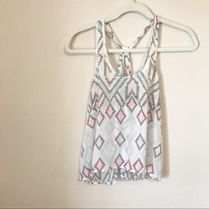 Aeropostale Sheer Patterned Babydoll Tank